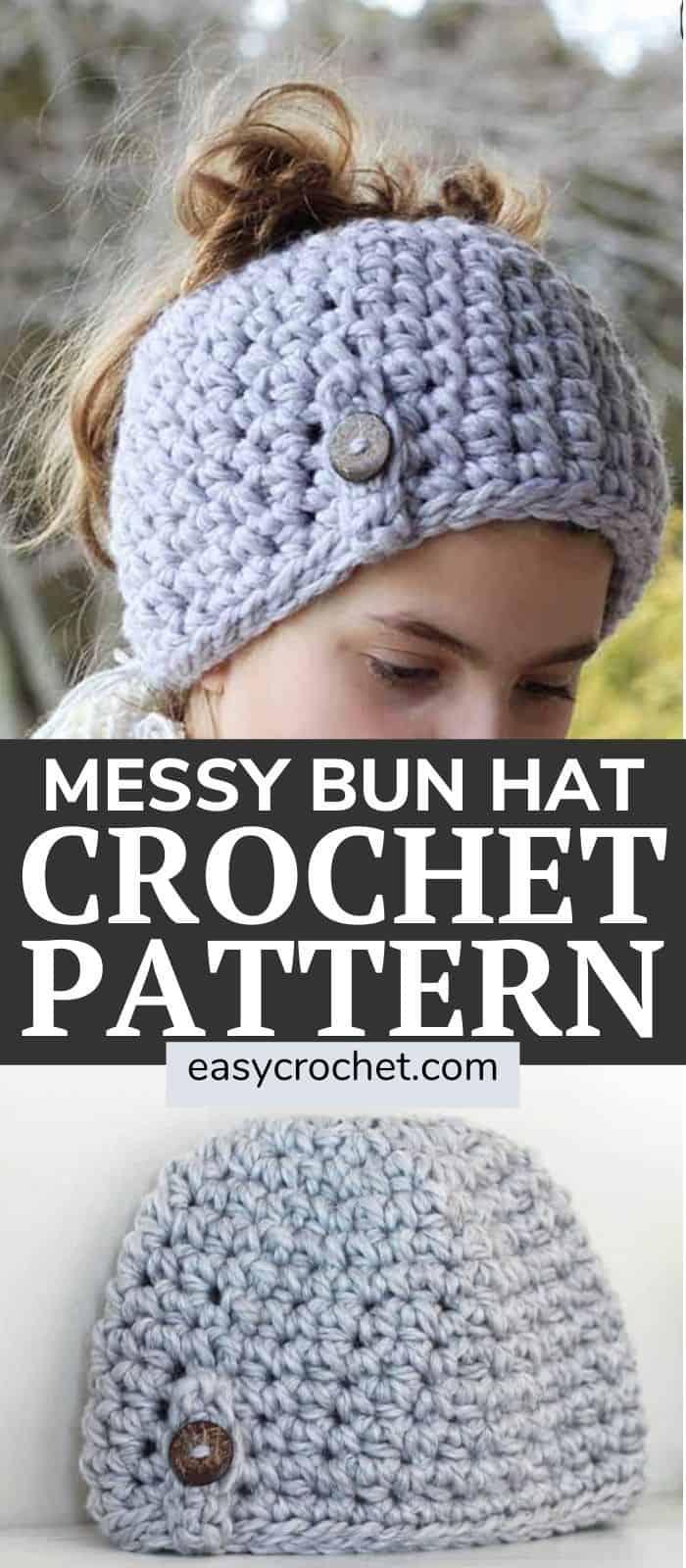 Messy Bun Hat Pattern via @easycrochetcom