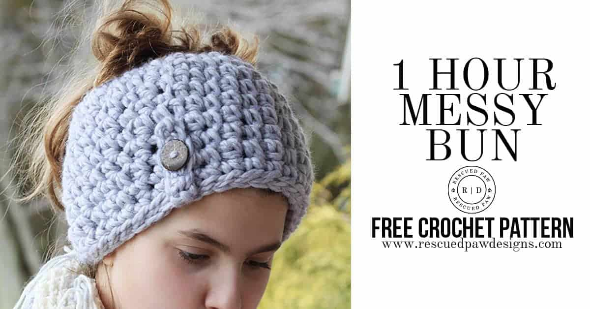How to make the 1 Hour Messy Bun Beanie by Rescued Paw Designs www.rescuedpawdesigns.com