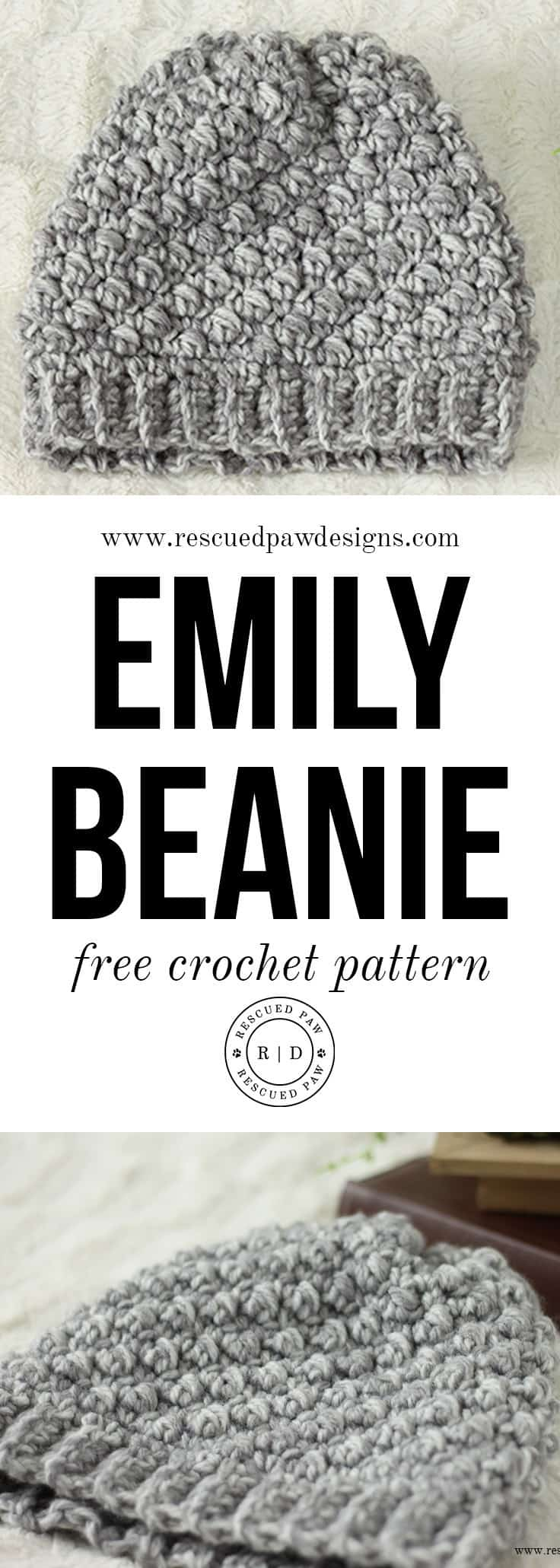 Free Crochet Pattern for the Emily Diagonal Beanie by Rescued Paw Deisgns. Make this Beauty in just 2 hours! Click to Read or Pin and Save Later!