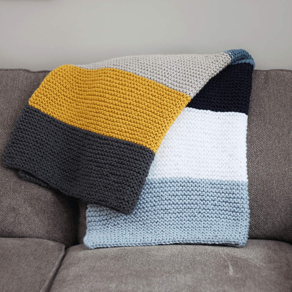 Simple Striped Knit Blanket