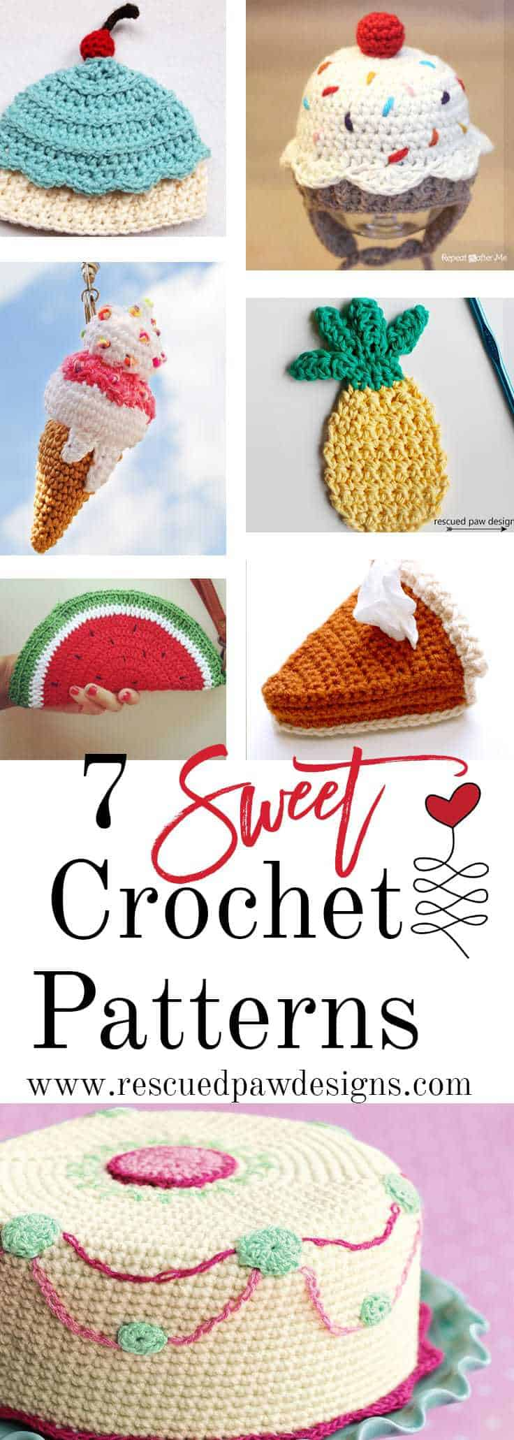 7 Sweet Crochet Patterns - Rescued Paw Designs www.rescuedpawdesigns.com
