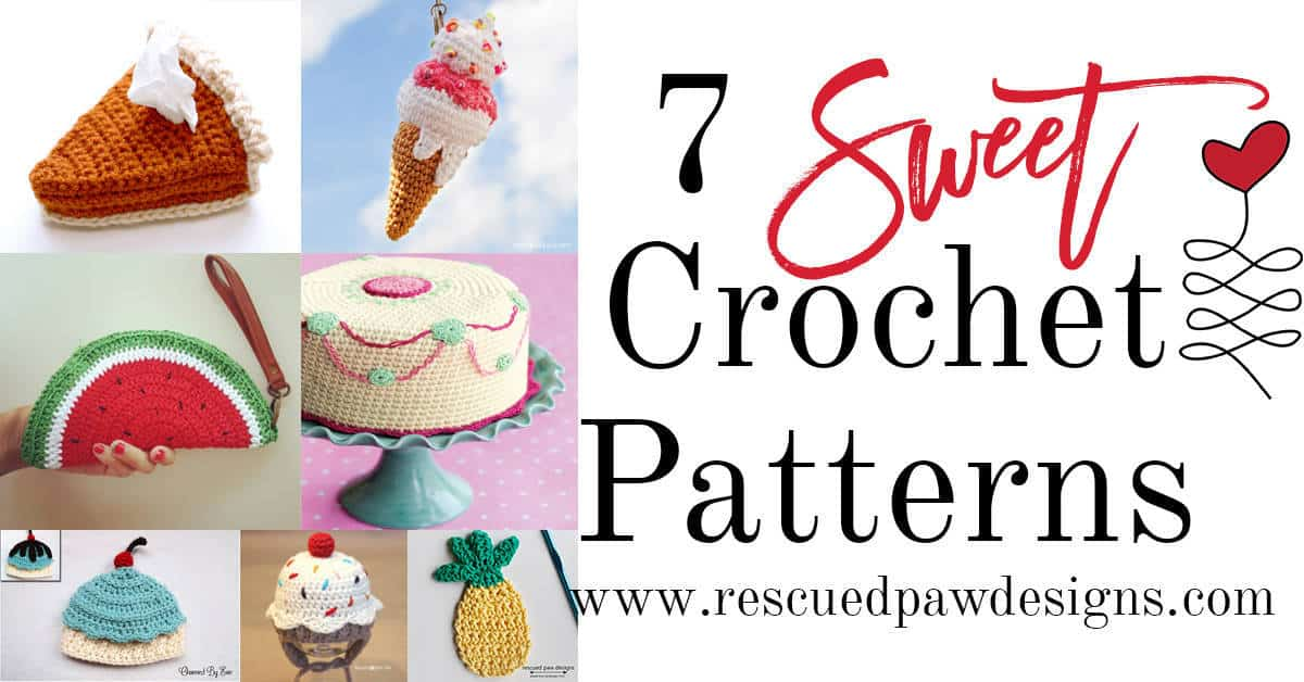 7 Sweet FREE crochet patterns compiled by Rescued Paw Designs