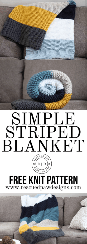 Simple Striped Blanket - Free Knit Pattern by Easy Crochet - Beginner Friendly!