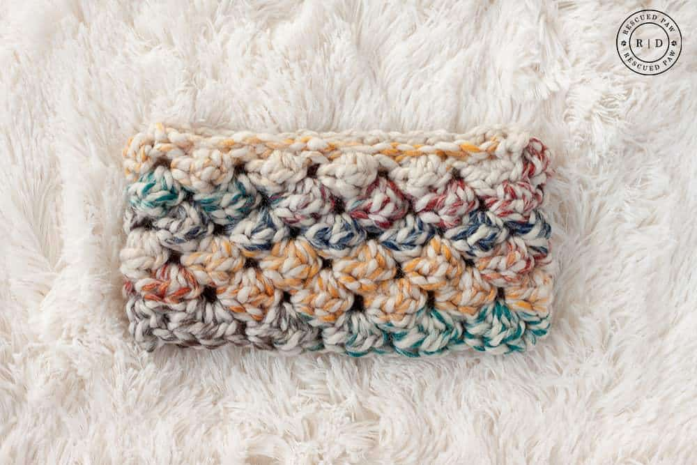 colorful puff crochet headband