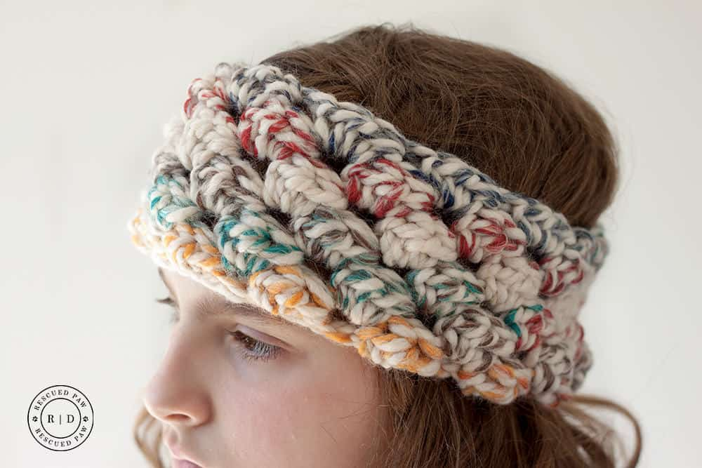 Girl wearing crochet headband