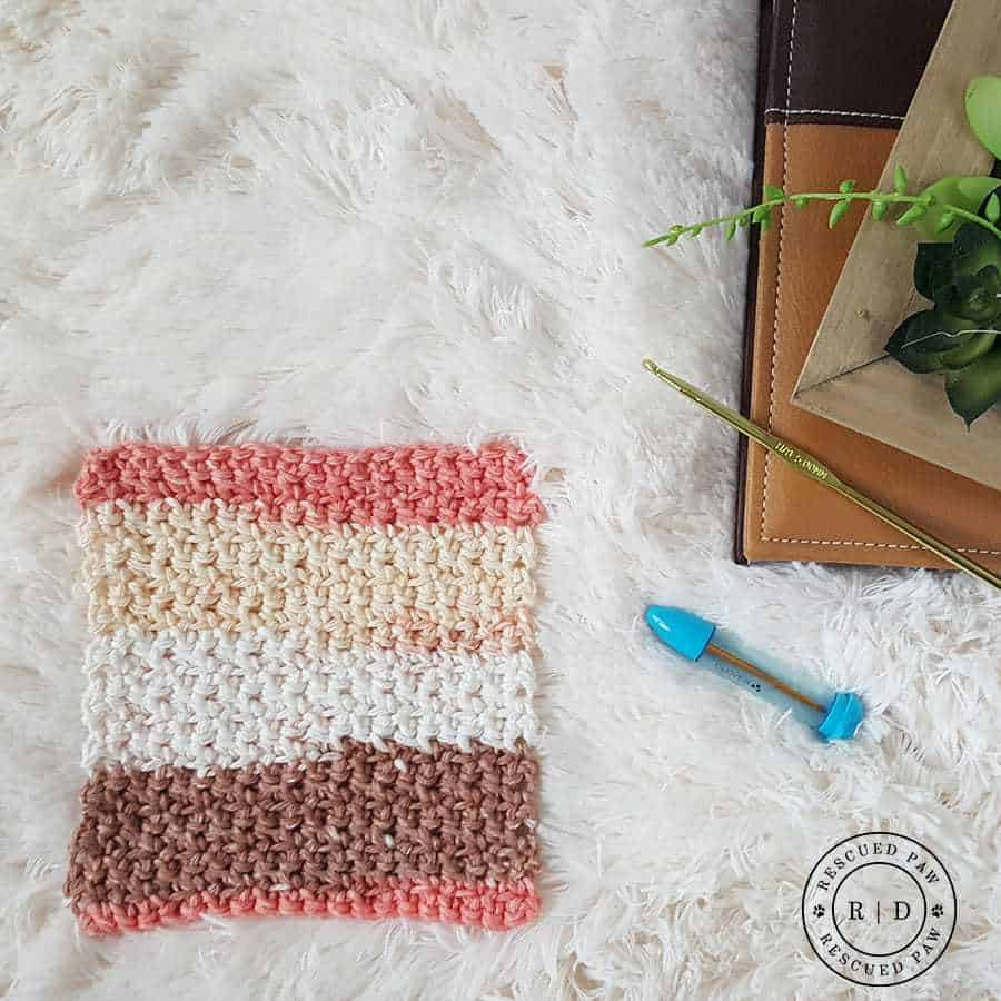 Simplest Crochet Washcloth Ever - Free Crochet Pattern by Rescued Paw Designs - Click to get the Pattern or Pin and save for later!