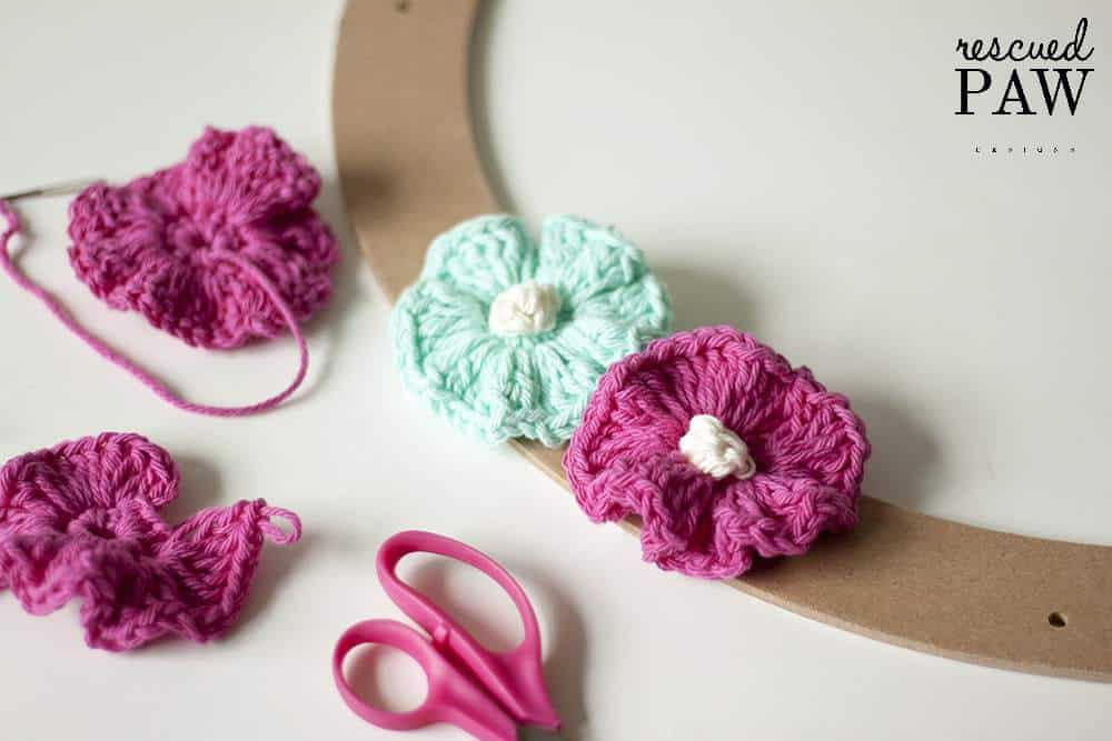 Crochet Flowers on a wreath