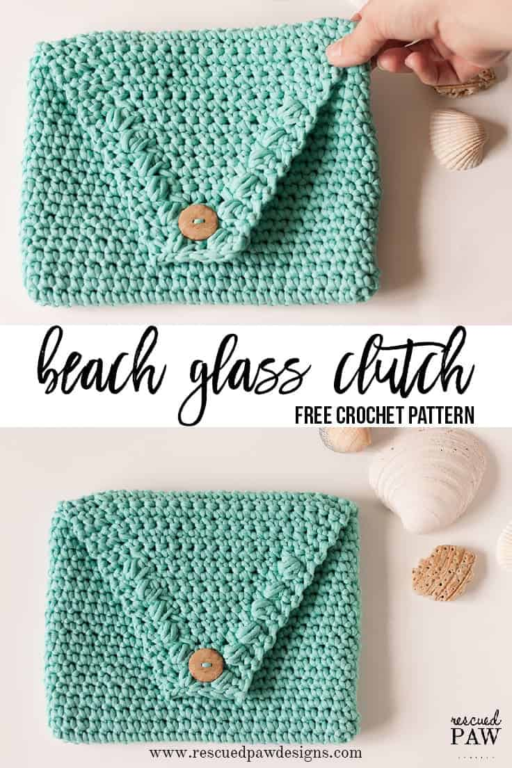 BEACH GLASS CLUTCH - Make this Beach Glass Clutch Today - Free Crochet Pattern by Rescued Paw Designs. Click to Read or Pin and Save for Later!