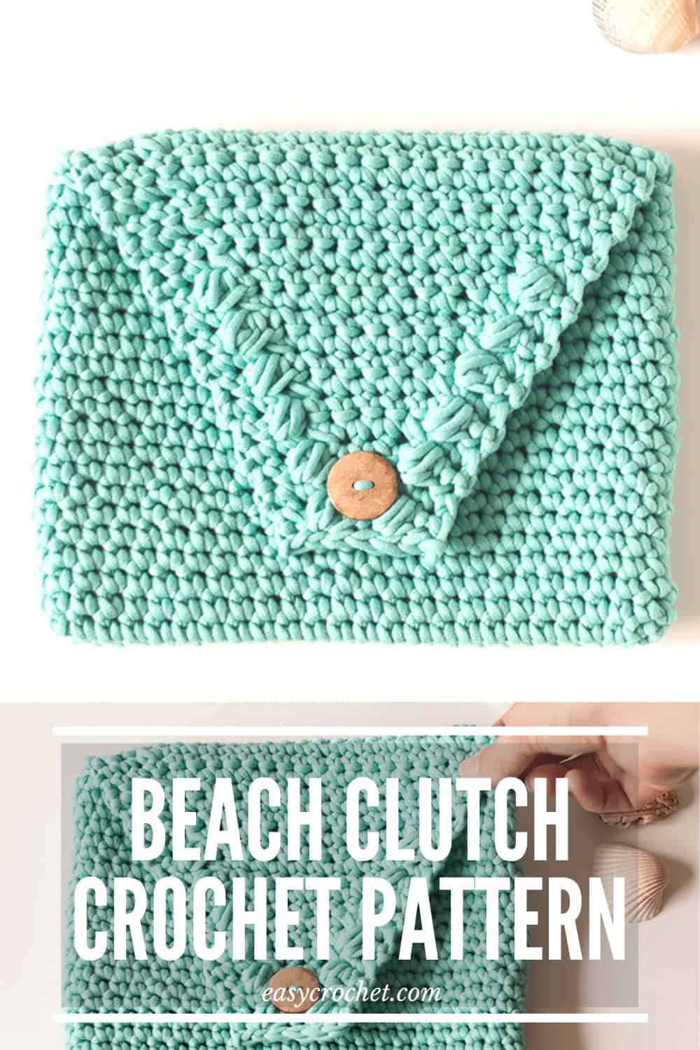 Free Crochet Clutch Pattern - Easy to make and perfect for the beach! Uses Chunky Home Dec yarn that can handle getting wet and being outdoors! Make one today at easycrochet.com via @easycrochetcom