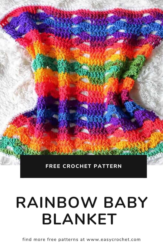 Free Crochet Rainbow Baby Blanket Pattern  via @easycrochetcom