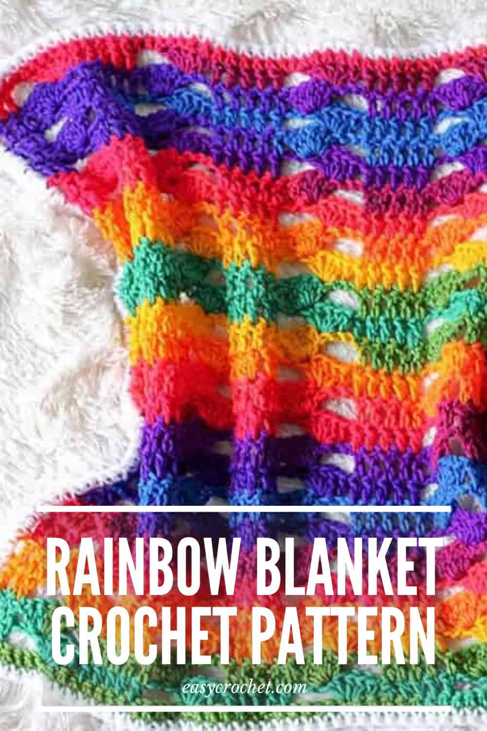 Rainbow Crochet Blanket Pattern via @easycrochetcom