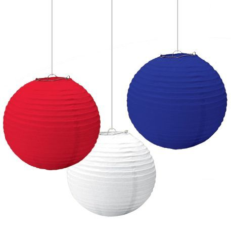 Red, White and Blue Paper Lanterns - Fourth Of July Party Must Haves
