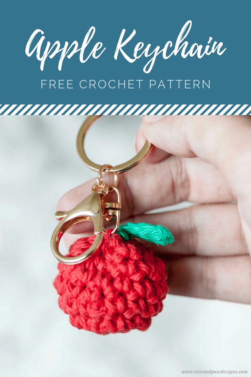 Apple Keychain Crochet Pattern - Great for Back to School! Free Pattern from Rescued Paw Designs. www.rescuedpawdesigns.com - Click to Make now or Pin and Save for Later!