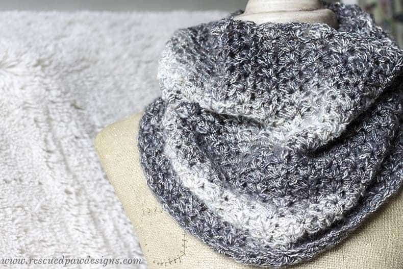 Shimmering Snow Cowl Crochet Pattern - Easy Beginner Pattern to make this simple cowl! Find this and many more free patterns at Rescued Paw Designs!