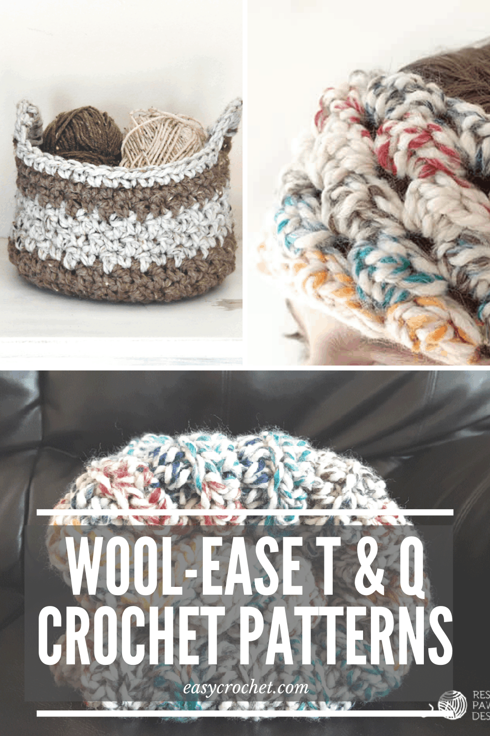 Free Crochet Patterns using Wool-Ease Thick & Quick Yarn from Lion Brand. Make a chunky basket, headband and blanket with these free chunky crochet patterns from Easy Crochet. via @easycrochetcom