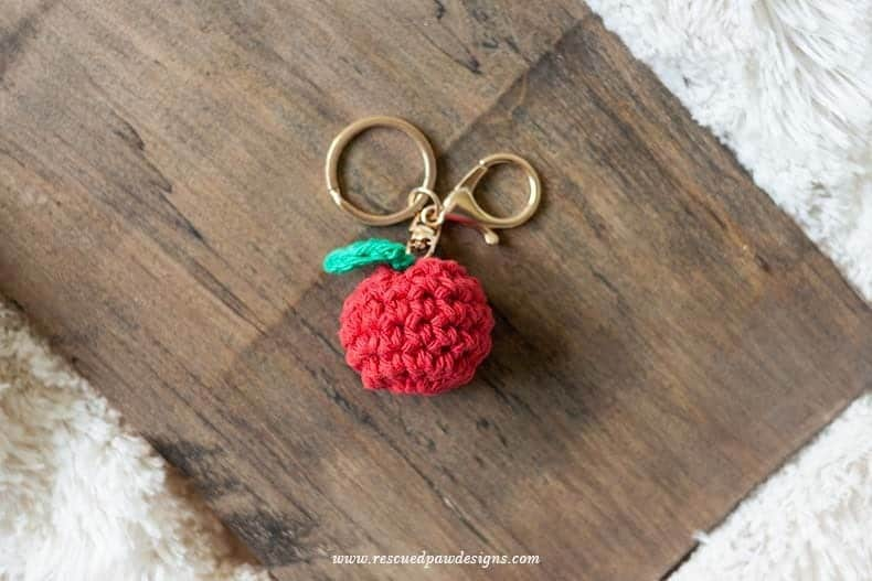 Apple Keychain Crochet Pattern - Great for Back to School! Free Pattern from Easy Crochet. www.easycrochet.com - Click to Make now or Pin and Save for Later!
