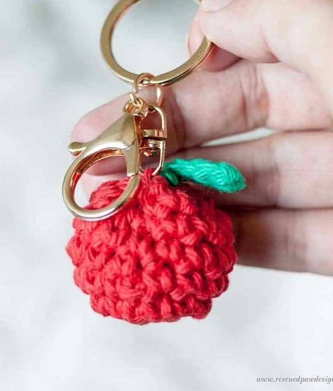 Crochet Apple Keychain