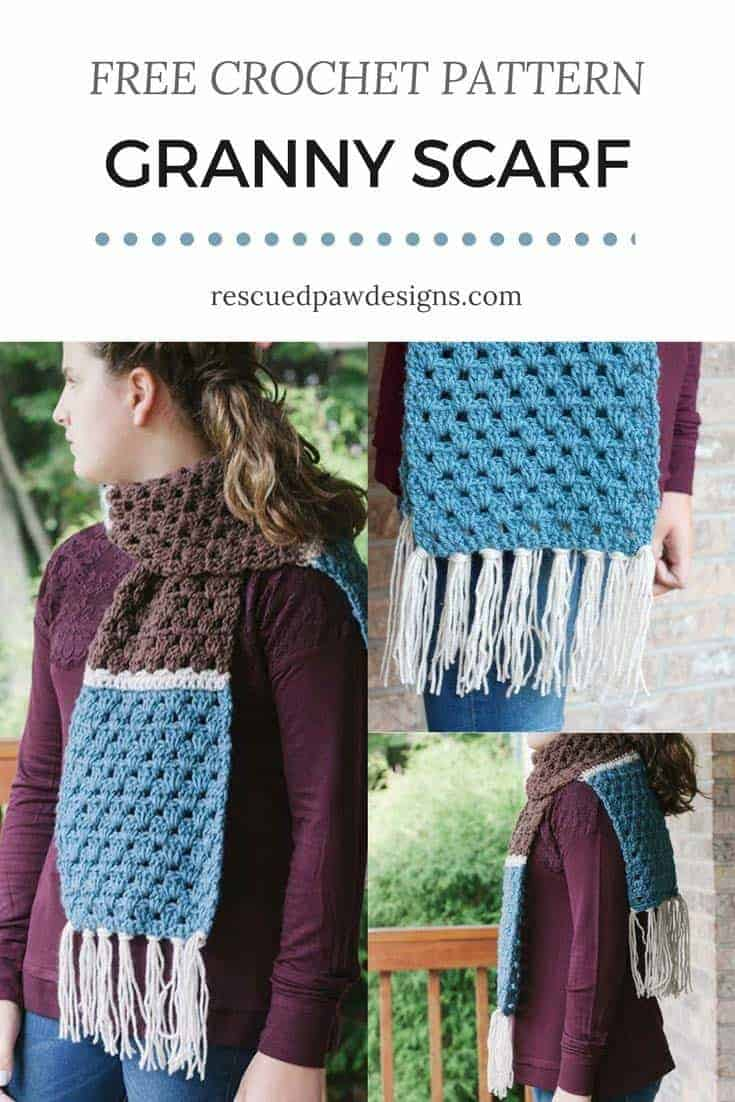 Simple Granny Scarf by Rescued Paw Designs - Click to Crochet now or Pin and Save for Later - www.rescuedpawdesigns.com