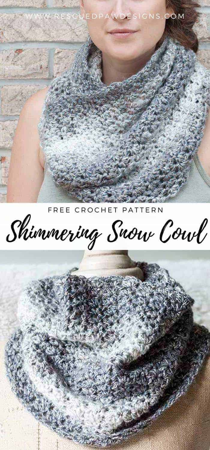 Free Beginner Friendly Crochet Cowl Pattern using Lion Brand Yarn - Free Shimmering Snow Cowl Pattern by Rescued Paw Designs. Click to Make now or Pin and Save for Later!
