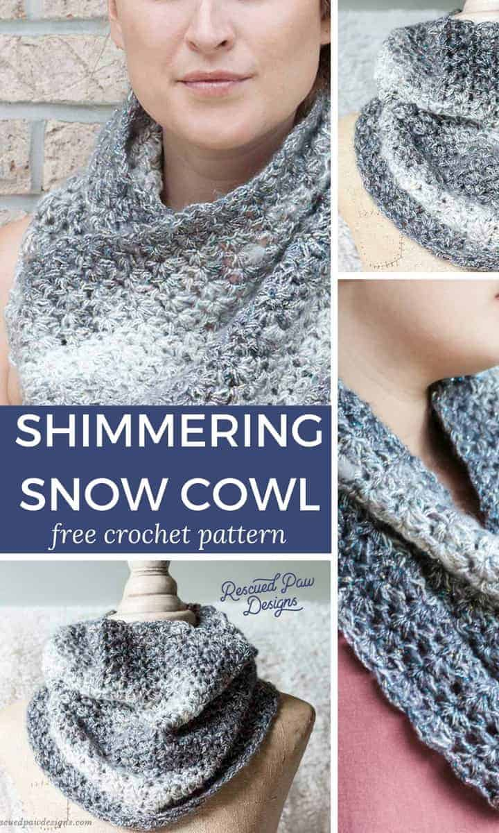 Collage of the Shimmering Snow Crochet Cowl