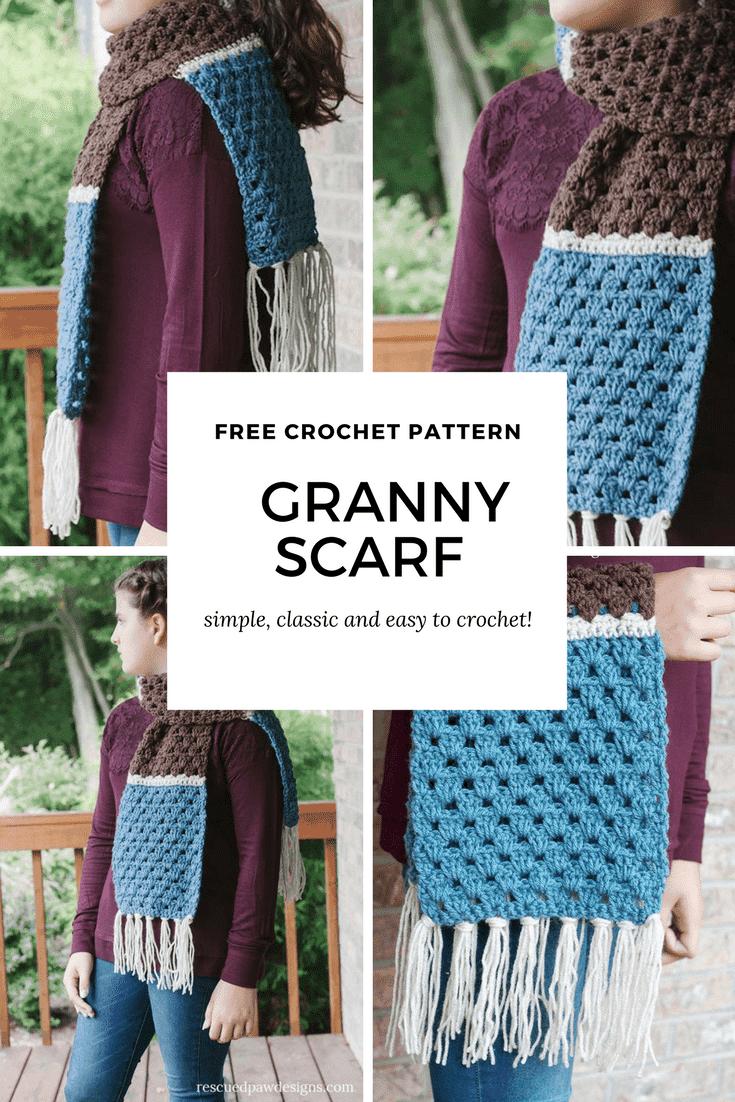Free Crochet Pattern for a Granny Crochet Scarf