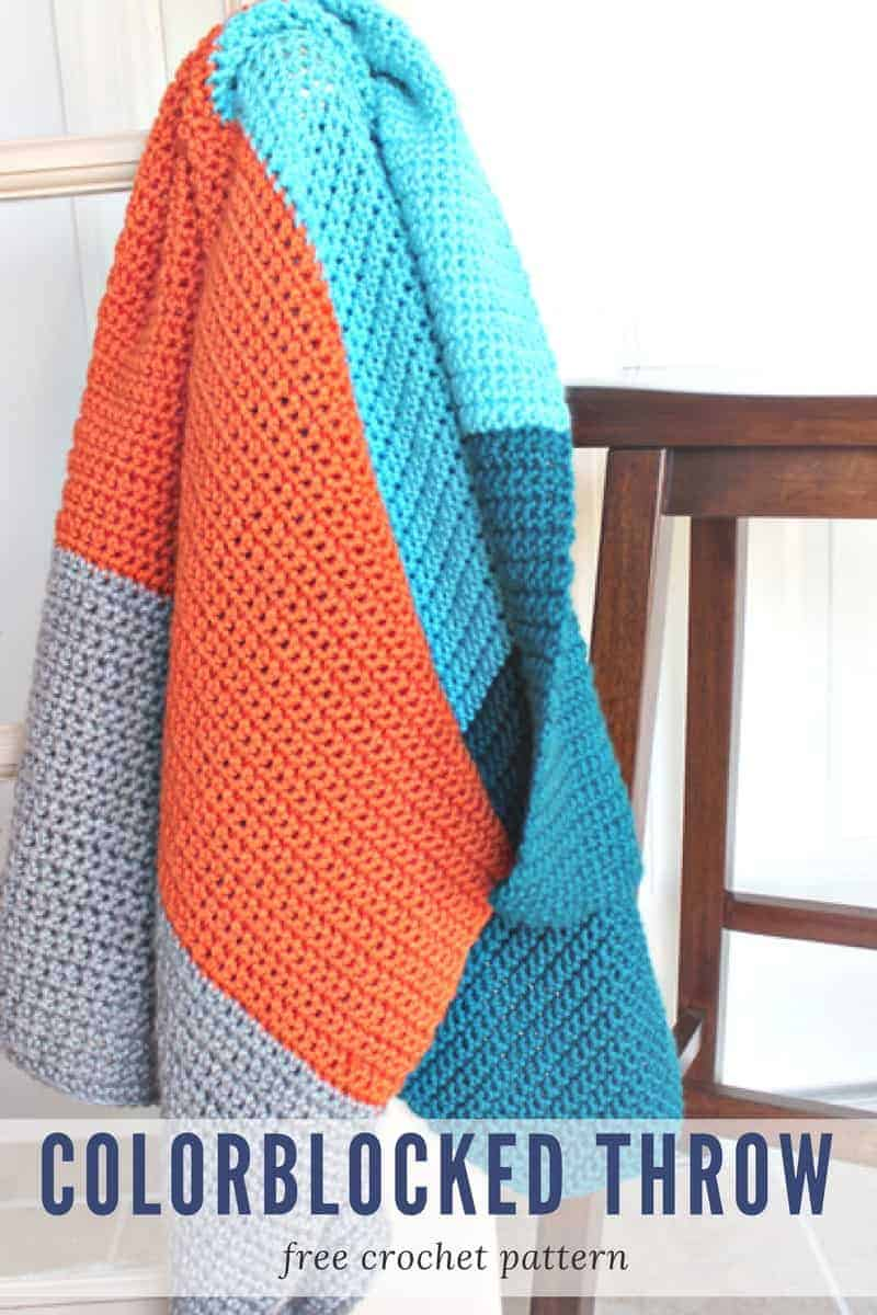 ColorBlocked Crochet Throw Blanket