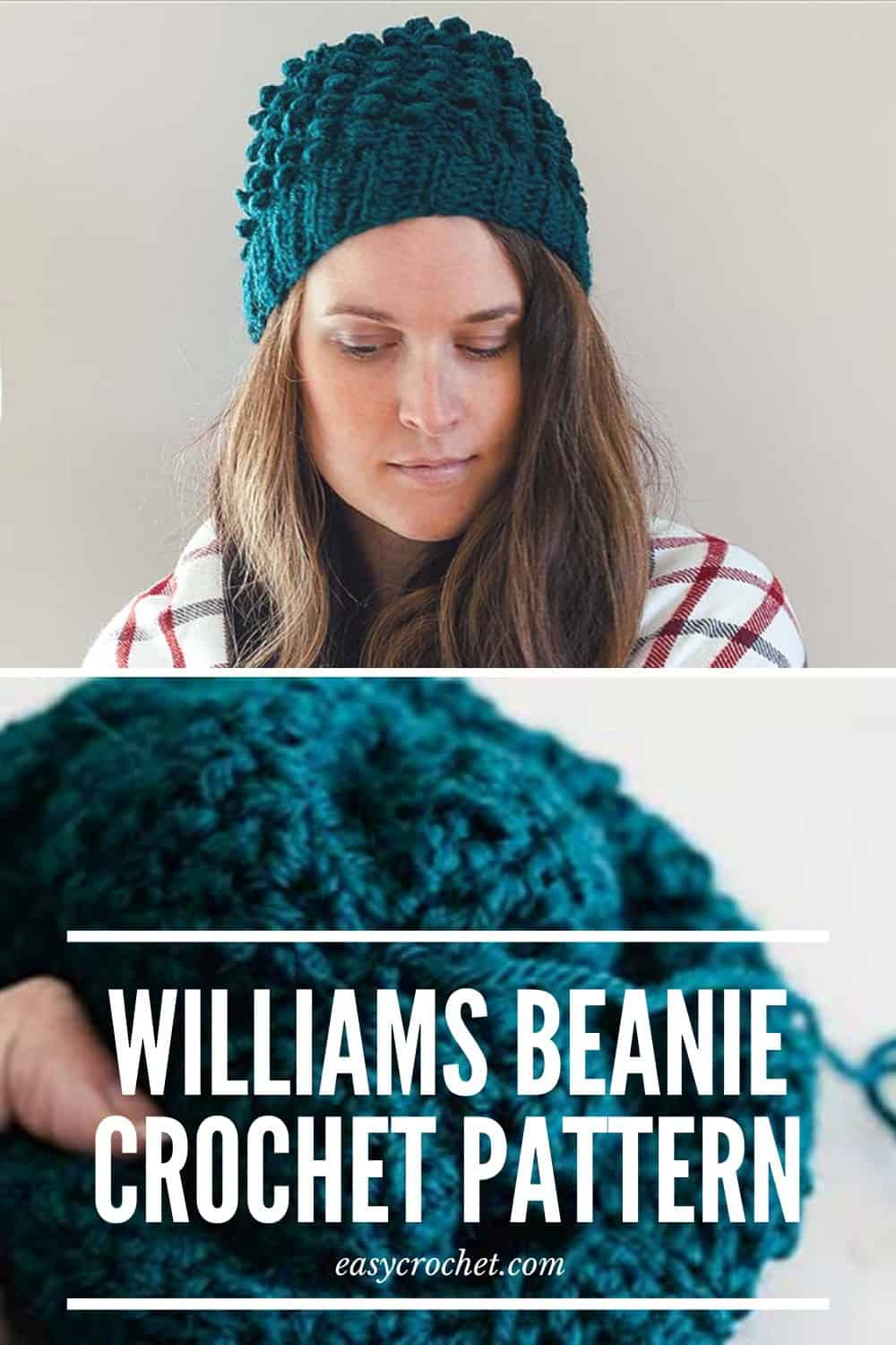 Williams Beanie Crochet Hat Pattern - Free Crochet Hat Pattern by Easy Crochet via @easycrochetcom