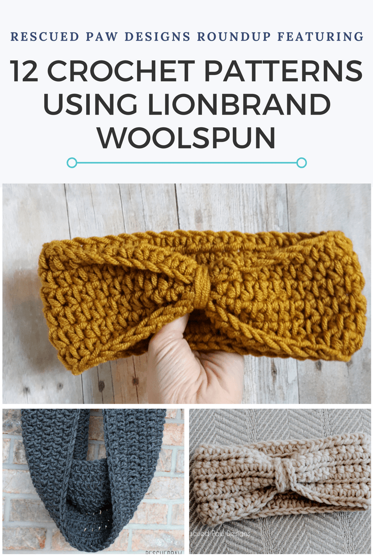 Crochet Patterns using Woolspun Yarn - 12 Free Crochet Patterns Compiled by Rescued Paw Designs
