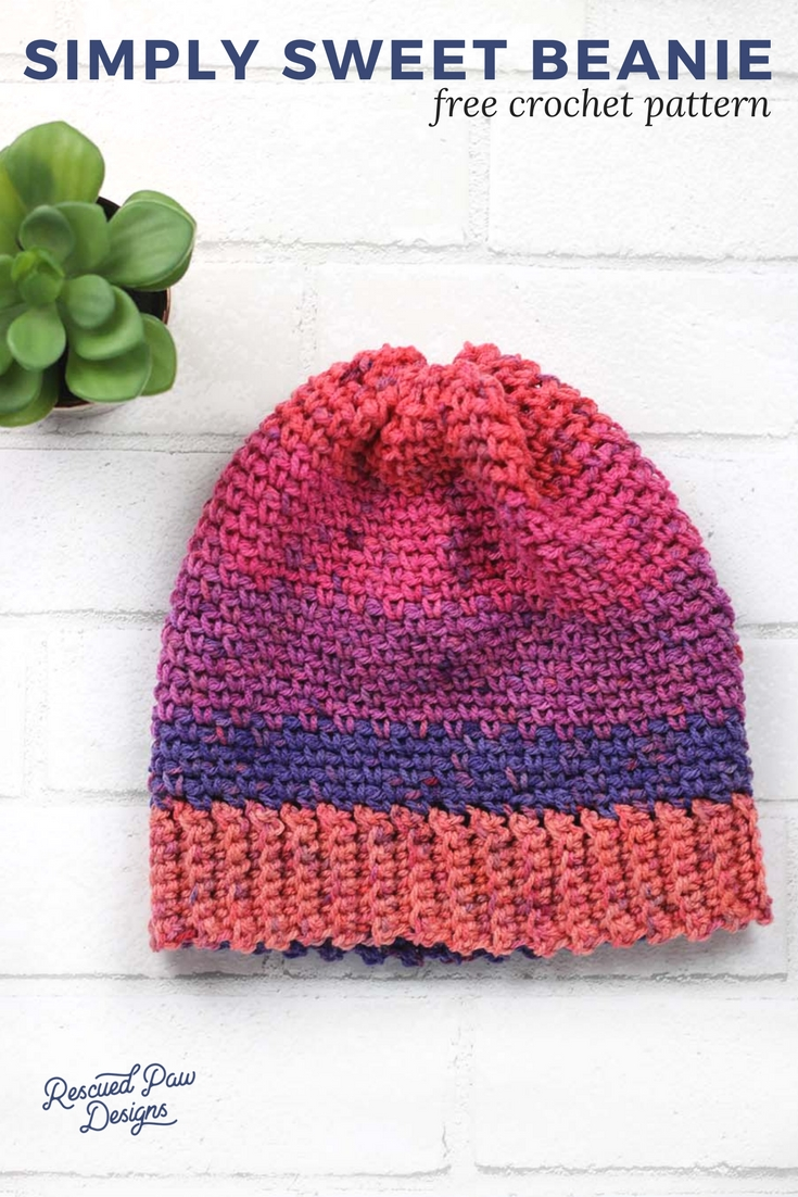 d39906b387a Simply Sweet Crochet Beanie Hat Pattern - Rescued Paw Designs