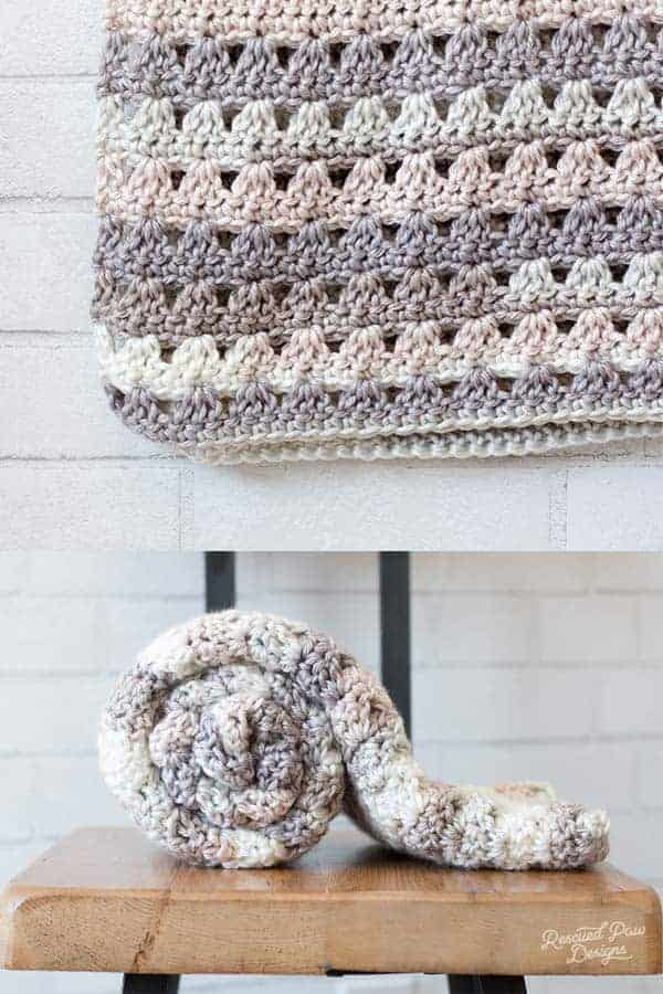 Crochet blanket and rolled up crochet blanket