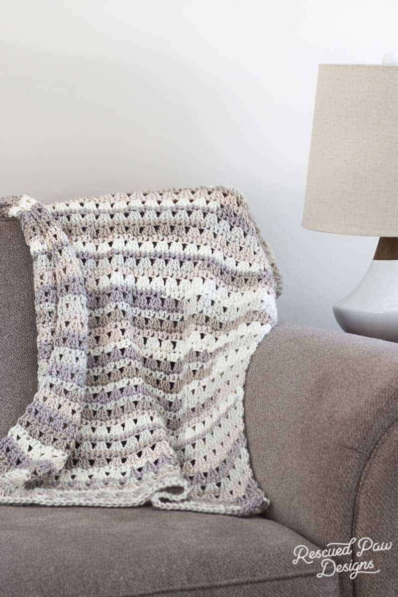 Alissa Crochet Throw Blanket on a Couch