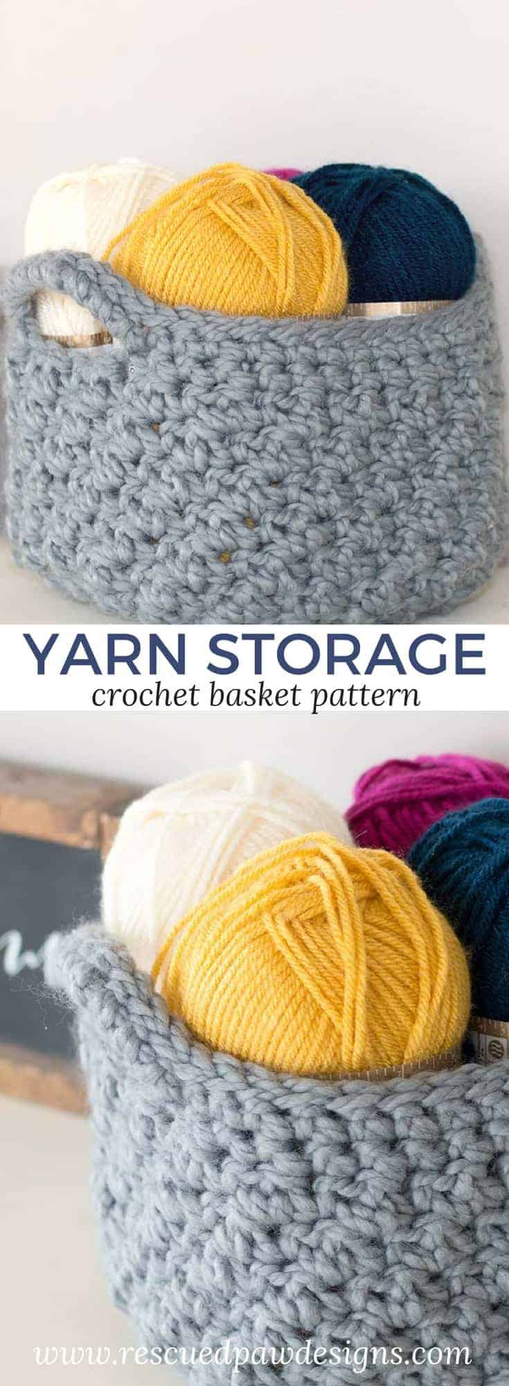 Crochet Basket Pattern for Yarn