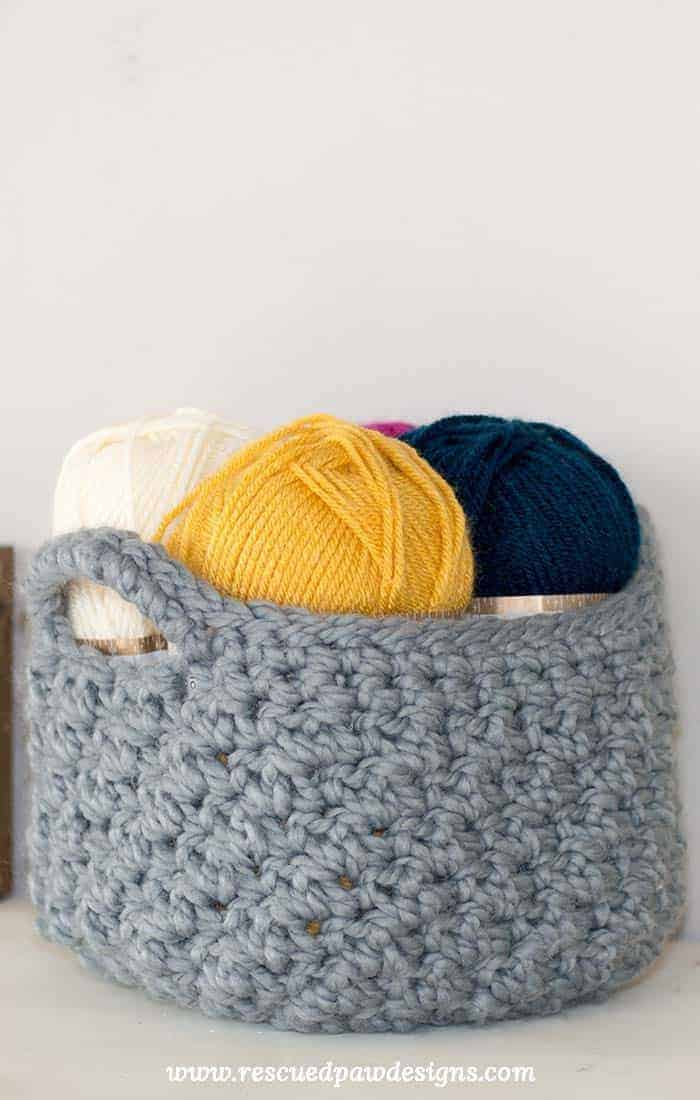To make this storage basket just like mine you will need approximately 220 yards of Lion Brand Wool Ease Thick u0026 Quick in Slate . & Crochet Storage Basket Pattern - How to Make A Crochet Basket