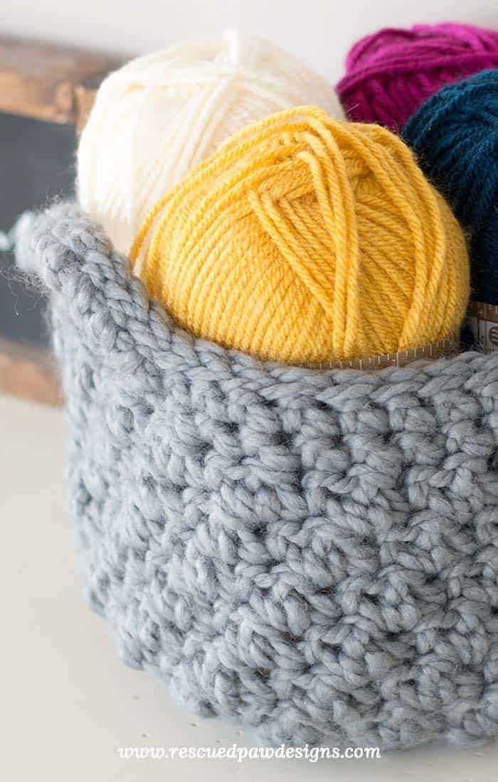 Up close picture of a crochet basket & Crochet Storage Basket Pattern - How to Make A Crochet Basket