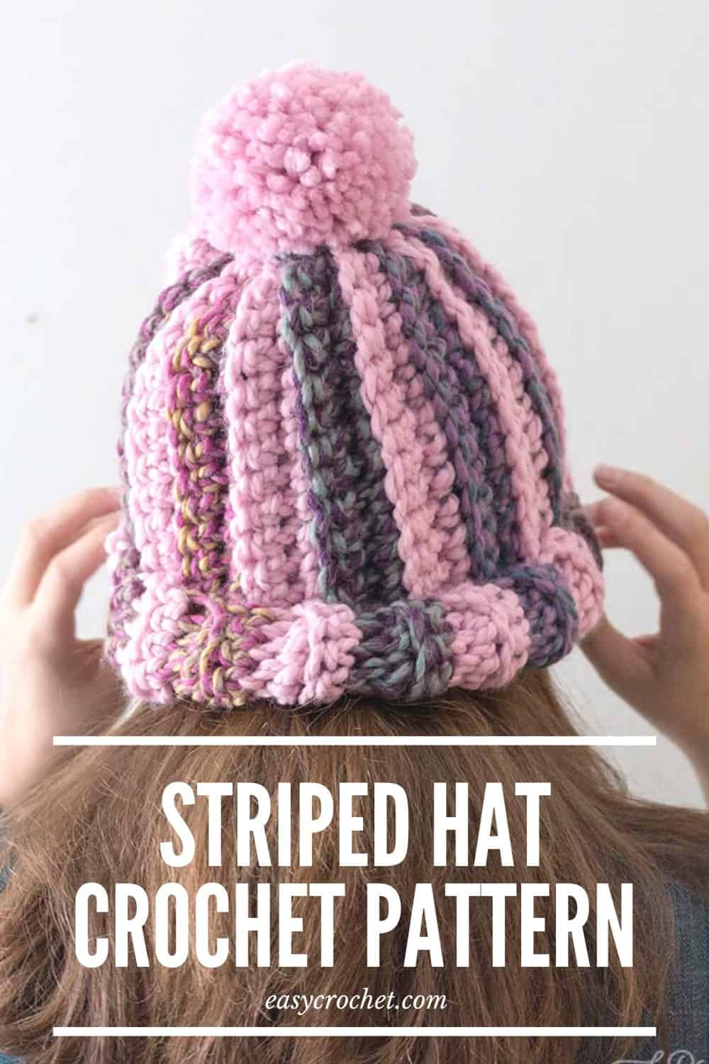 Striped Hat Crochet Pattern by Easy Crochet - Beginner-Friendly Chunky Beanie Pattern via @easycrochetcom