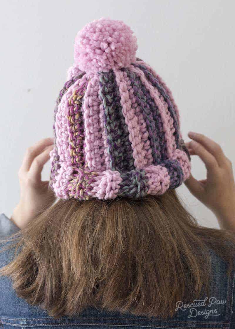 e1b38e18759 Pom Striped Crochet Hat Pattern - Rescued Paw Designs Crochet