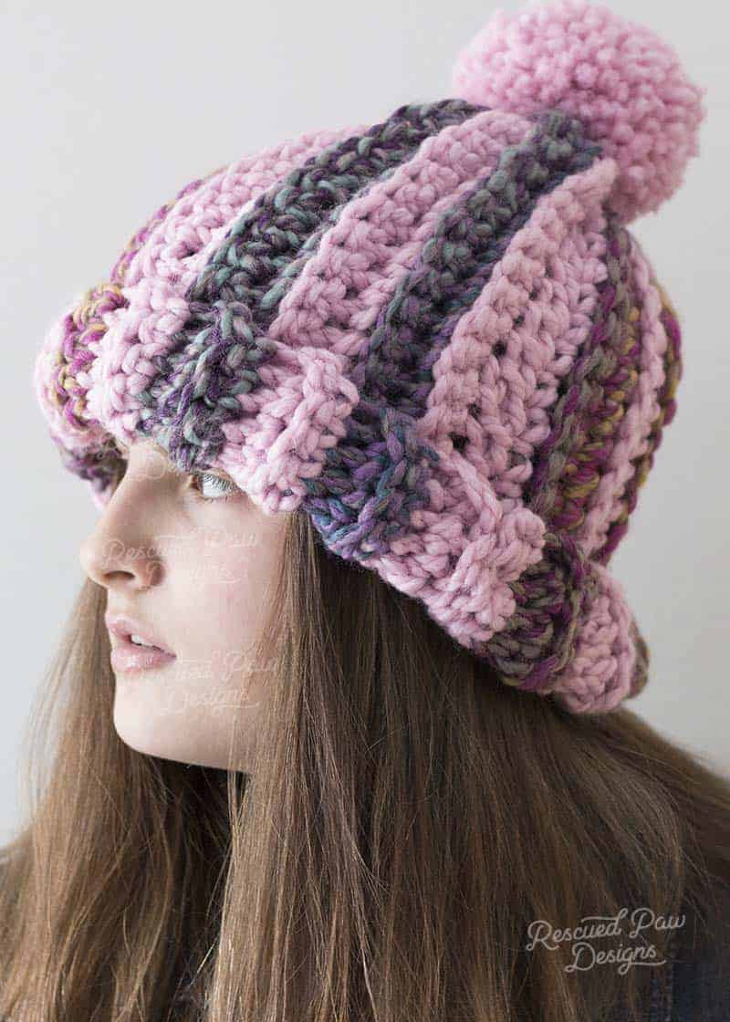 crochet striped pom pom hat