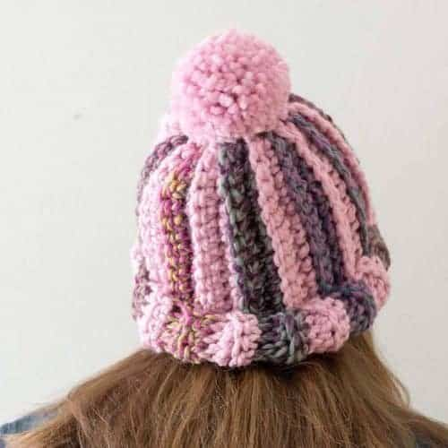 Pom Striped Crochet Hat Pattern