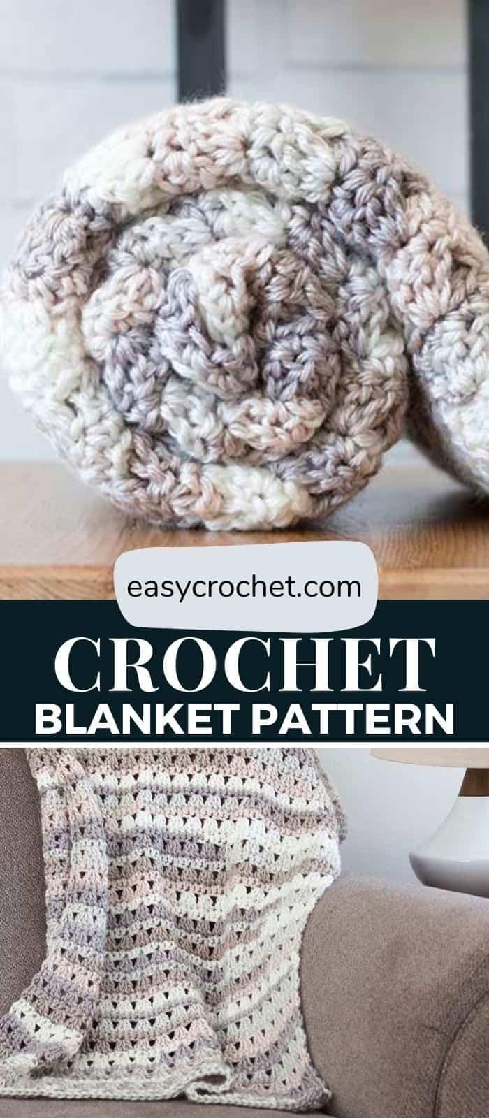 Free Crochet Blanket Pattern - Easy to make crochet blanket pattern using simple stitches. via @easycrochetcom