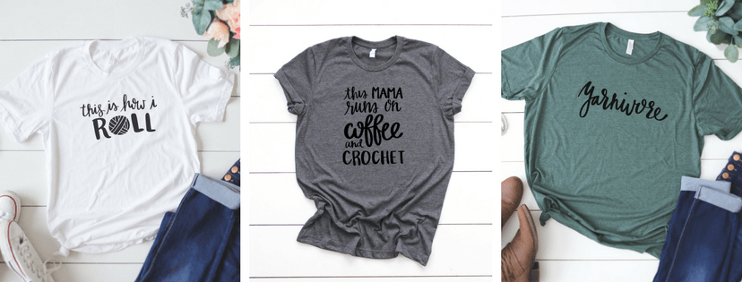 Crochet Funny Tees Knitting T shirts - Yarn Mamas by Rescued Paw Designs