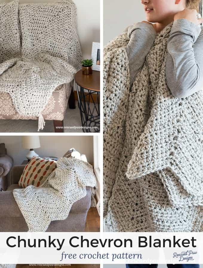 Chunky Chevron Crochet Blanket