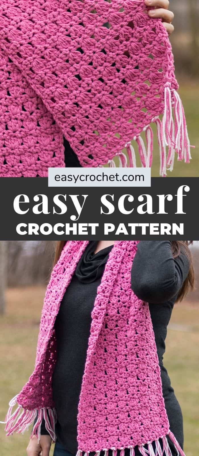 easy pink crochet scarf pattern via @easycrochetcom