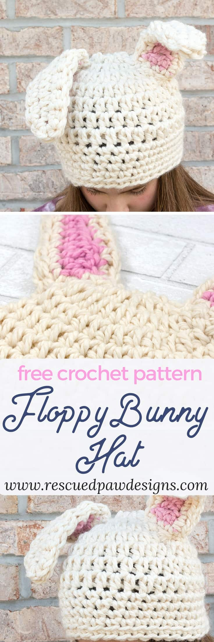 Free Crochet Pattern for a Floppy Bunny Hat from Rescued Paw Designs. Make this Crochet Bunny Hat today! rescuedpawdesigns.com  #crochetbunny #crocheteasterhat #crochetbunnyhat #freecrochetpattern