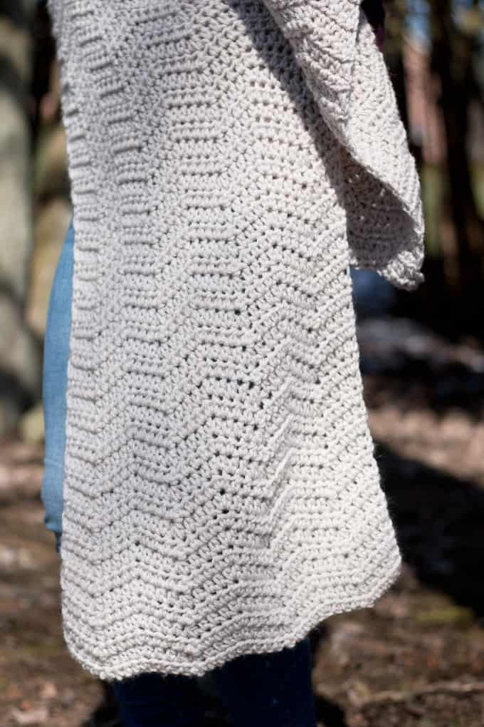 up close view crochet wrap pattern