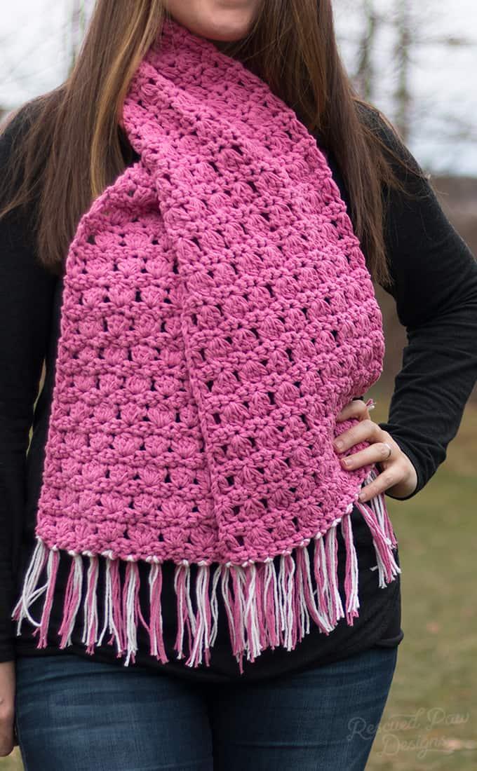 Crochet Scarf Pretty In Pink Bulky Crochet Scarf Pattern
