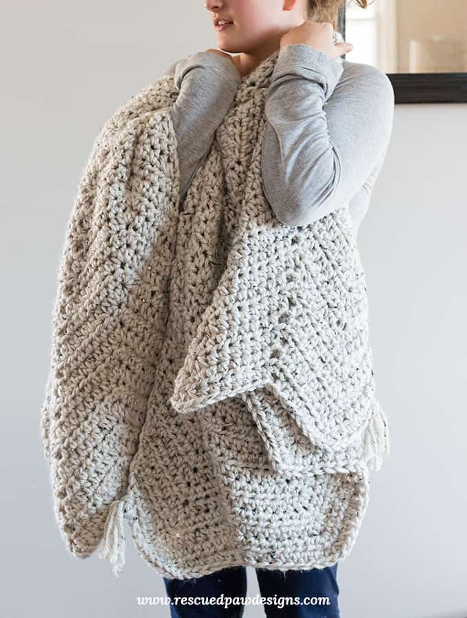Chunky Chevron Crochet Blanket Pattern Free