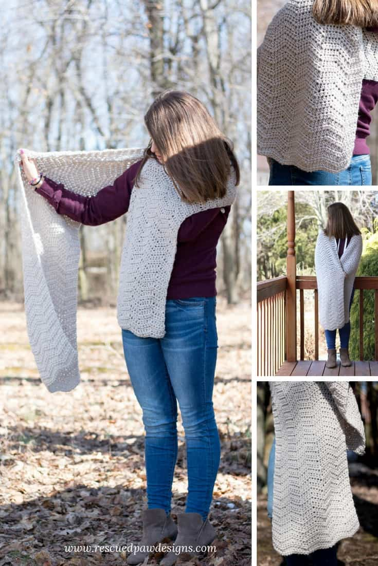 Ripple Crochet Wrap Pattern by Rescued Paw Designs