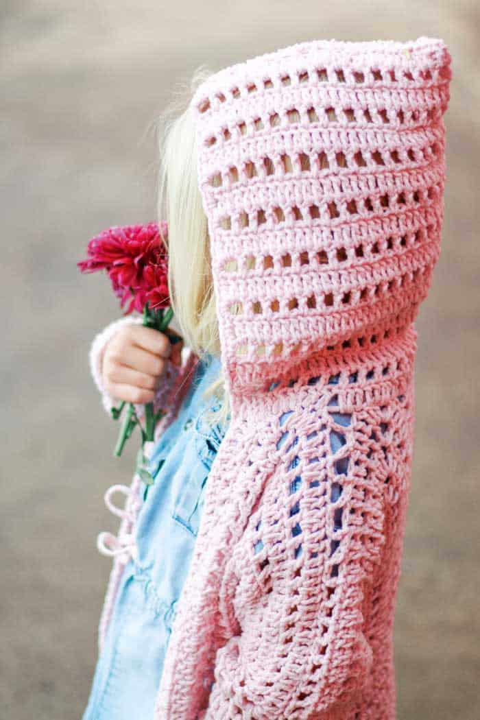 Childs Crochet Cardigan Using Feels Like Butta yarn Make and Do Crew
