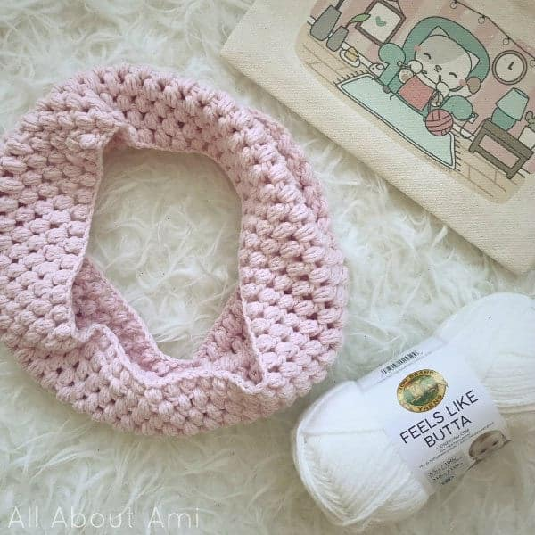 Childs Puff Stitch Cowl - All about Ami - Feels Like Butta Yarn by Lion Brand