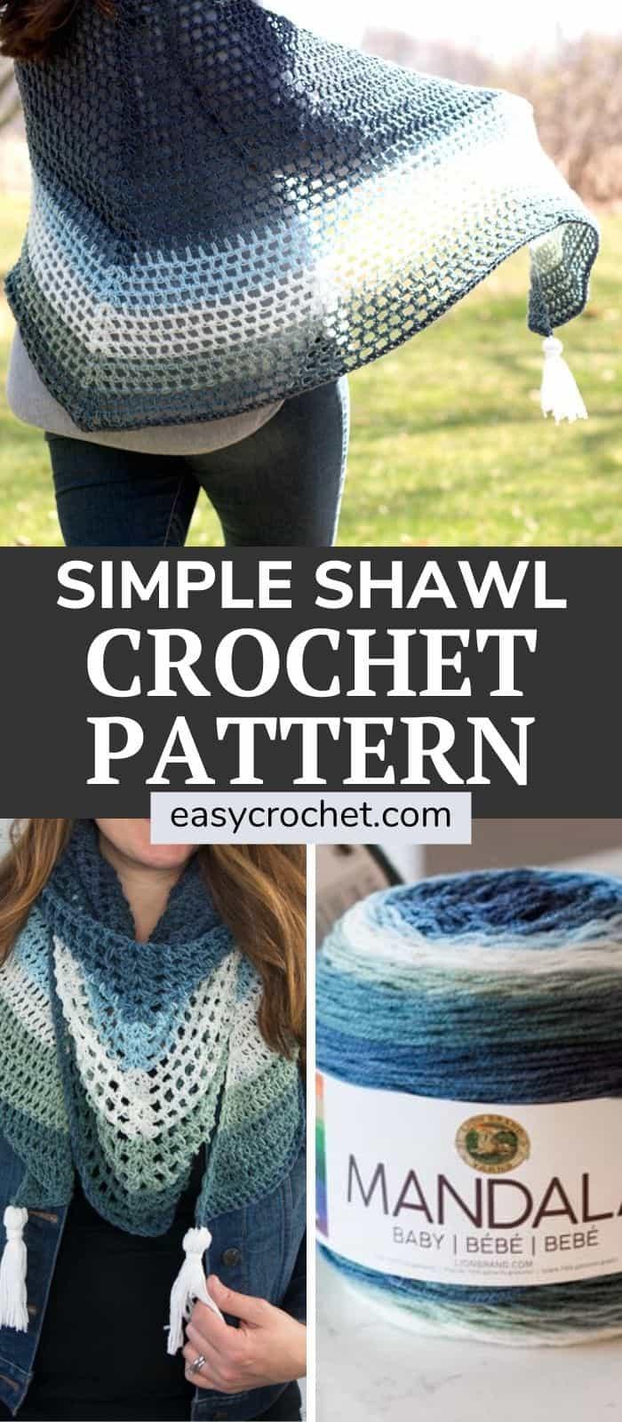 Simple Shawl crochet pattern using Mandala Yarn via @easycrochetcom
